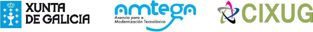 Logotipos da Xunta de Galicia, Amtega e CIXUG
